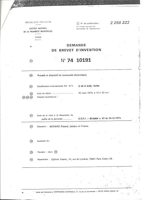 Demande de brevet d'invention du 25 mars 1974